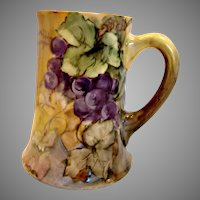 "French Limoges 5 3/8"" Mug Hand Painted Grapes Artist Signed c 1892 - 1907"