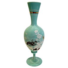 "Bohemian Czech Mint Green Opaline Art Glass Vase 12 ¾"" Hand Enameled Brown & White Scene Sail Boat Flowers c 1890"
