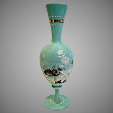 "Bohemian Czech Mint Green Opaline Art Glass Vase 12 ¾"" Hand Enameled Brown & White Scene Sail Boat Flowers c 1890"