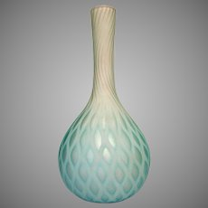 "English Satin Art Glass Vase 10"" MOP Diamond Quilted White Cased Blue Shading c 1885"