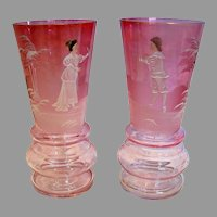 "Bohemian Czech Pair Art Glass Vases 6"" Clear-to-Cranberry Mary Gregory Enameled Figures c 1900"