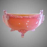 English Webb Pink Over Ivory Art Glass Footed Centerpiece Bowl Dolphin Fish Ends c 1882