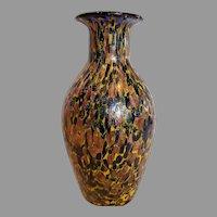 """Italian Murano Copper Aventurine Art Glass Vase 9"""" Cobalt Blue Interior c 1960"""