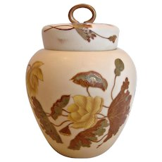 German New York & Rudolstadt Lidded Jar w Interior Lid for Tea, Cookies, Crackers or Ginger Hand Painted Flowers Leaves c 1882 - 1918