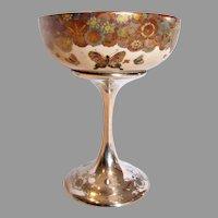 American Decorative Art Compote Japanese Satsuma Gold Mille Fleur Butterflies Bowl on Shreve Sterling Silver Pedestal c 1900 – 1905 –- Museum