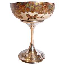 American Decorative Art Compote Japanese Satsuma Gold Mille Fleur Butterflies Bowl on Shreve Sterling Pedestal c 1900 – 1905 –- Museum