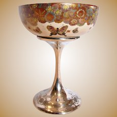 American Decorative Art Compote Japanese Satsuma Gold Mille Fleur Butterflies Bowl on Shreve Sterling Silver Pedestal c 1900 – 1905 –- Museum