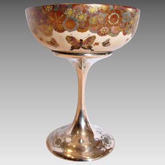 American Decorative Art Compote Japanese Satsuma Gold Mille Fleur Butterflies Bowl on Shreve Sterling Pedestal c 1900 – 1905 –- Museum