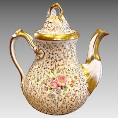 German SPM Schumann Large Teapot Hand Painted Flowers Gold Leaf Mold c 1844-1847