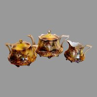 German RS Prussia Demitasse Tea Set – Teapot, Sugar & Creamer - Mold 632 Mill or Cottage Scenes c 1904 - 1938