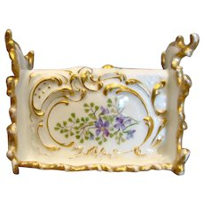 French Limoges Ornate Letter Pen Holder Hand Painted Violet Flowers c 1892 - 1907