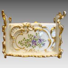 French Limoges Ornate Letter Pen Holder Hand Painted Violet Flowers c 1892 - 1907