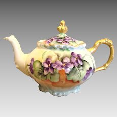 French Limoges Demitasse Teapot Hand Painted Violets c 1891 - 1932