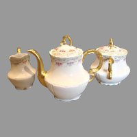 French Limoges Tea Set – Teapot, Sugar, Creamer – Dainty Flowers c 1890 - 1914