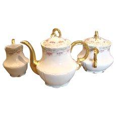 French Limoges Tea Set – Teapot, Sugar, Creamer – Dainty Flowers c 1890 - 1914