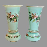 "Bohemian Czech Harrach Pair Green-Turquoise Opaline Art Glass Vases 8"" Hand Enameled Butterflies Flowers c 1865 - 1875"