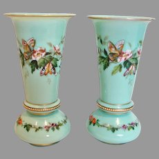"Bohemian Czech Harrach Pair Green-Turquoise Opaline Art Glass Vases 8"" Hand Enameled Butterflies Flowers c 1865 - 1875"