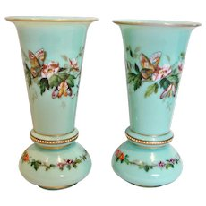 "Bohemian Harrach Pair Green-Turquoise Opaline Art Glass Vases 8"" Hand Enameled Butterflies Flowers c 1865 - 1875"