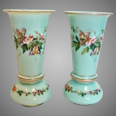 "Bohemian Harrach Pair Green-Turquoise Opaline Art Glass Vases 8"" Hand Enameled Butterflies Flowers c 1865 - 1875"