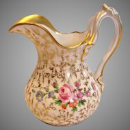 German SPM Schumann Cream Milk Pitcher Hand Painted Flowers Gold Leaf Mold c 1844-1847
