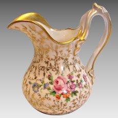 German SPM Schumann Cream Milk Pitcher Hand Painted Flowers Gold Leaf Mold c 1844-1847