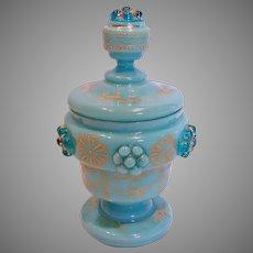 Bohemian Blue Opaline Art Glass Covered Jar or Box w Applied Raspberry Prunts c 1880