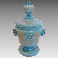 Bohemian Blue Opaline Art Glass Covered Jar or Box w Applied Raspberry Prunts c 1880