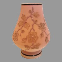 Bohemian Czech Poschinger Small Ivory -to-Pink Satin Peach Blow Art Glass Vase Signed c 1890