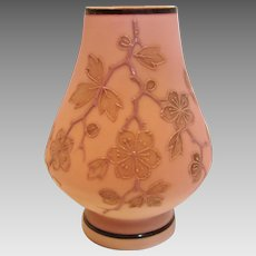 Bohemian Poschinger Small Ivory -to-Pink Satin Peach Blow Art Glass Vase Signed c 1890