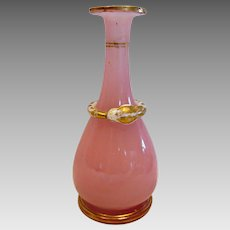 French Baccarat Pink Opaline Art Glass Perfume or Alchemy Bottle w Coiled Snake (Infinity Wholeness) No Stopper c 1845 - 1855