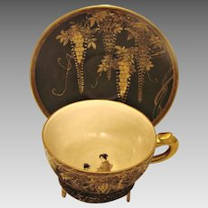 Japanese Satsuma Cup & Saucer Kinkozan Rare Black Matte Gold Wisteria Tiny Butterflies People Inside Cup c 1880 - 1890