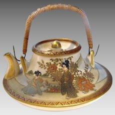 Japanese Satsuma Kinkozan Tiny Miniature Teapot Hand Painted People c 1868 - 1927