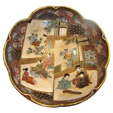 Japanese Satsuma Kinkozan Tea Bowl Hand Painted People in Rooms Interior c 1868 - 1927