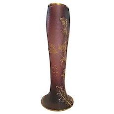 "French Daum Nancy 12"" Art Glass Vase 3 Cameo Raised Cross of Lorraine & Thistles Purple Amethyst Faint Signature c 1895 - 1900"