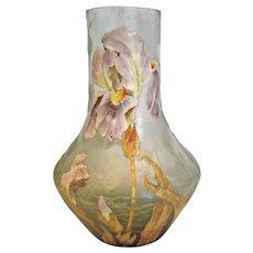 """French Legras Signed Mont Joye 9.5"""" Green Art Glass Vase Enameled Stunning Lily Flower c 1900"""