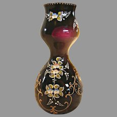 "Bohemian Moser Czech 10"" Art Glass Vase Deep Purple Amethyst Applied Flower High Relief c 1890 - 1930"
