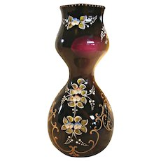 "Bohemian Moser 10"" Art Glass Vase Deep Purple Amethyst Applied Flower High Relief c 1890 - 1930"