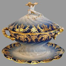 French Limoges Large Sauce Boat Tureen Cobalt & Gold w Amazing Flower Finial c 1891