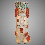 English Staffordshire Begging Spaniel Dog Jug Red & White c 1850 - 1870