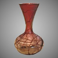 "Bohemian Czech Pallme-Konig 5.5"" Art Glass Vase Clear to Red-Purple Dark Threads c 1900"
