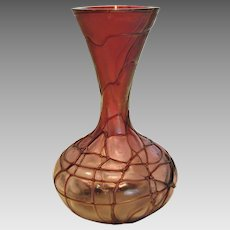 "Bohemian Pallme-Konig 5.5"" Art Glass Vase Clear to Red-Purple Dark Threads c 1900"