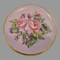 German Hand Painted Tea Trivet Pink Roses Artist Signed c 1940