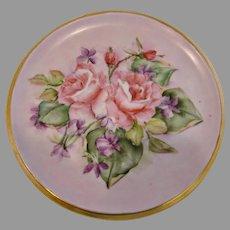German Hand Painted Tea Trivet Pink Roses Artist Signed c 1940