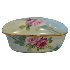 French Limoges Match Striker Box Hand Painted Pink Roses c 1891