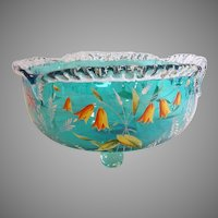 English Bright Blue Footed Art Glass Centerpiece Bowl Enameled Flowers c 1890