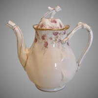 French Limoges Demitasse Teapot Twig Finial Handle Pink Flowers c 1892
