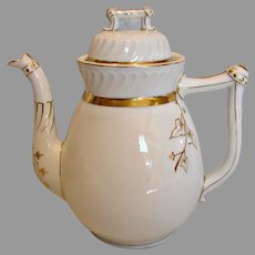 French Limoges Gorgeous Large Teapot or Coffee Pot White Gold c 1896 - 1914