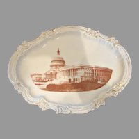 French Limoges Souvenir Platter Tray of Washington D.C. U.S. Capitol – Political – c 1892 - 1907
