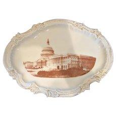 French Limoges Souvenir Platter Tray of Washington D.C. U.S. Capitol – Political – c 1892 - 1907
