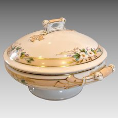 French Haviland Limoges Covered Casserole or Vegetable Gorgeous Handles White Daisies c 1868 - 1881